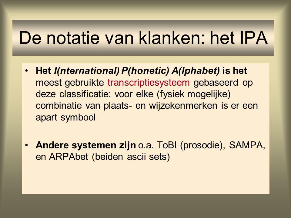 Het I(nternational) P(honetic) A(lphabet) is het meest gebruikte transcriptiesysteem gebaseerd op deze classificatie: voor elke (fysiek mogelijke) com