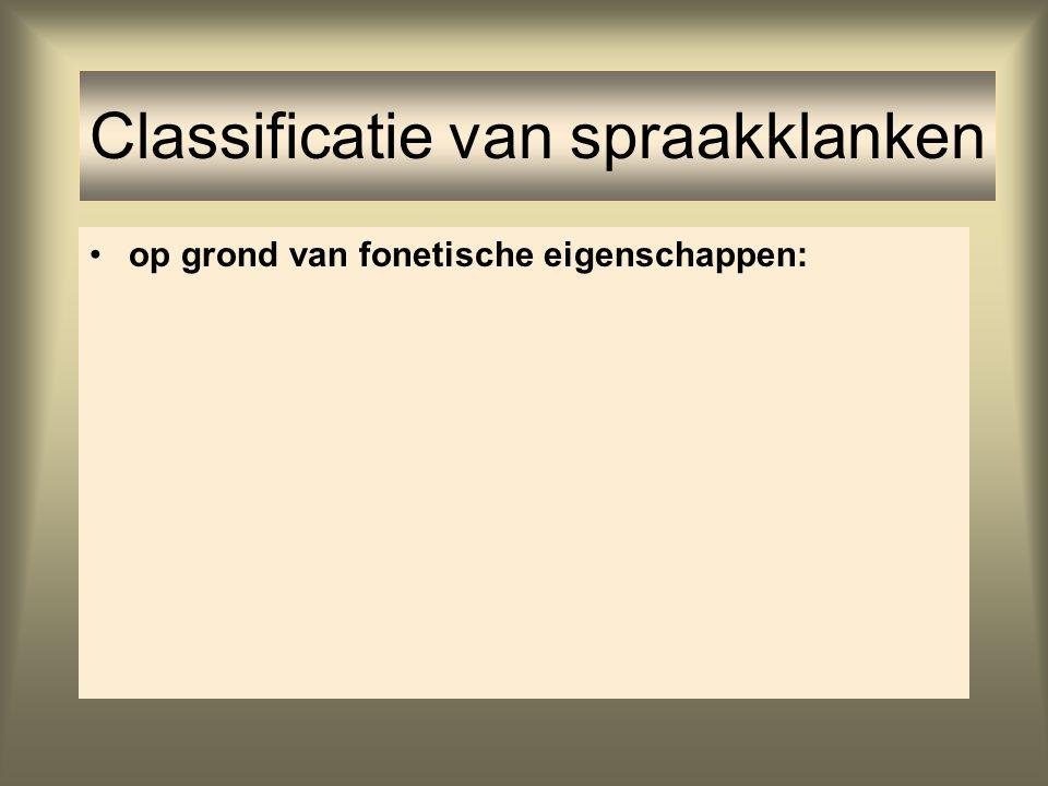 Classificatie van spraakklanken op grond van fonetische eigenschappen: