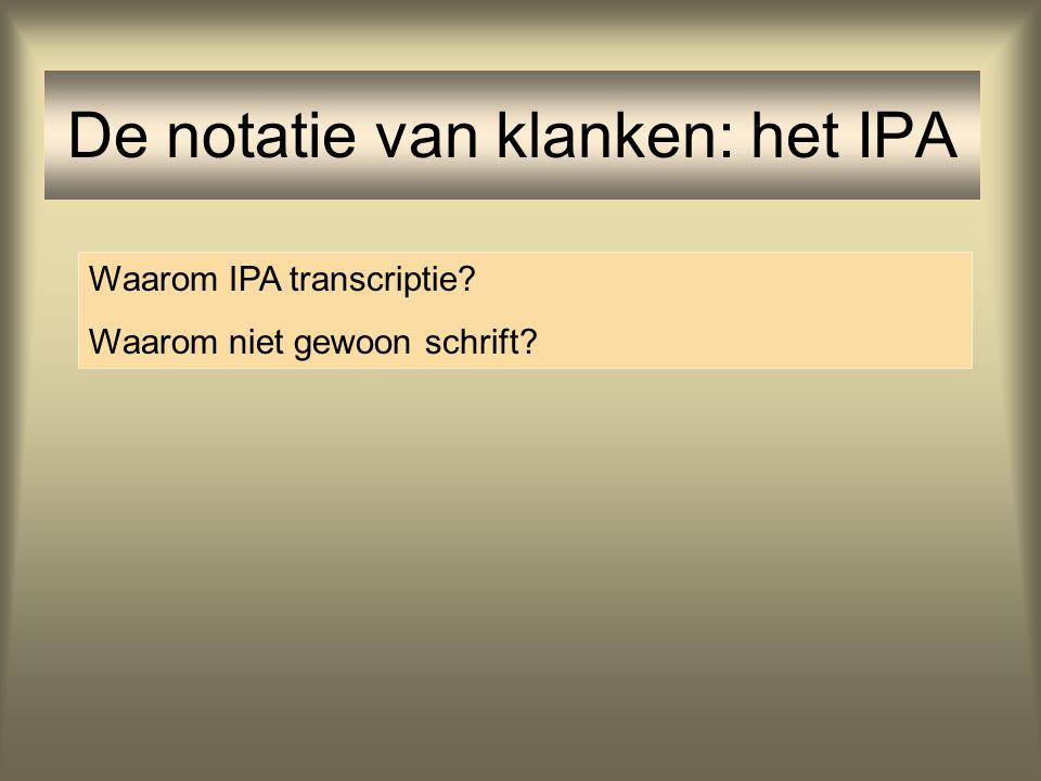 De notatie van klanken: het IPA Waarom IPA transcriptie? Waarom niet gewoon schrift?