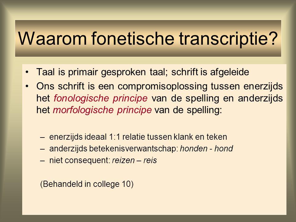 Taal is primair gesproken taal; schrift is afgeleide Ons schrift is een compromisoplossing tussen enerzijds het fonologische principe van de spelling