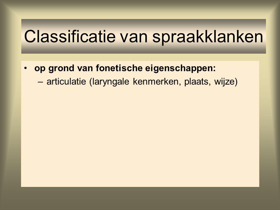 –articulatie (laryngale kenmerken, plaats, wijze) Classificatie van spraakklanken
