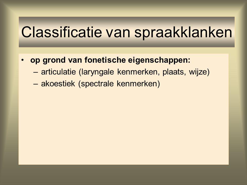 op grond van fonetische eigenschappen: –articulatie (laryngale kenmerken, plaats, wijze) –akoestiek (spectrale kenmerken) Classificatie van spraakklan