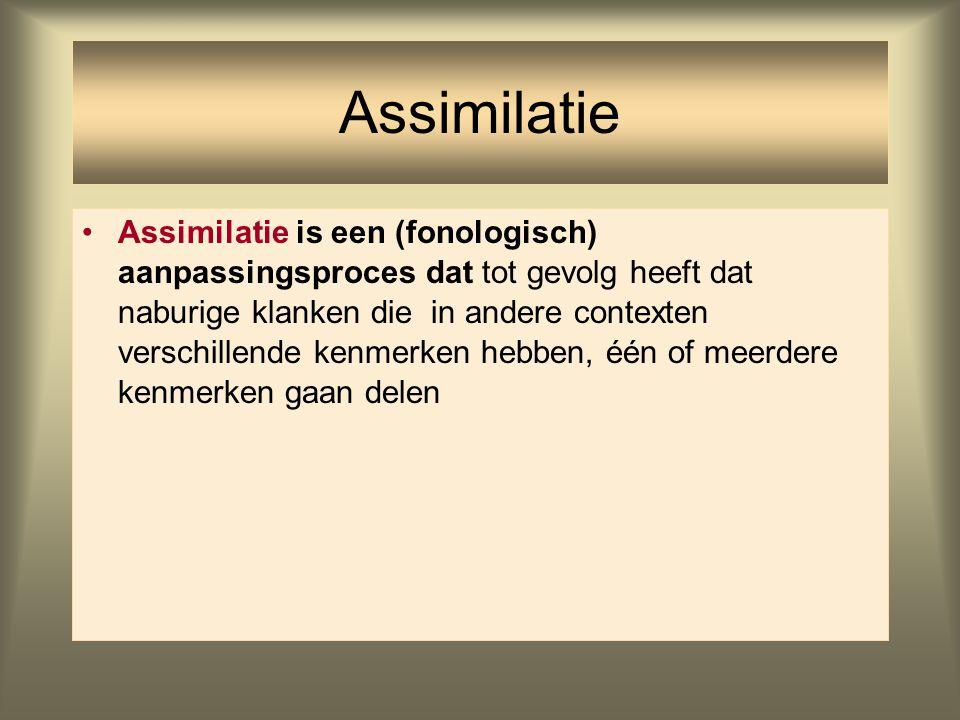 Assimilatie Assimilatie is een (fonologisch) aanpassingsproces dat tot gevolg heeft dat naburige klanken die in andere contexten verschillende kenmerk