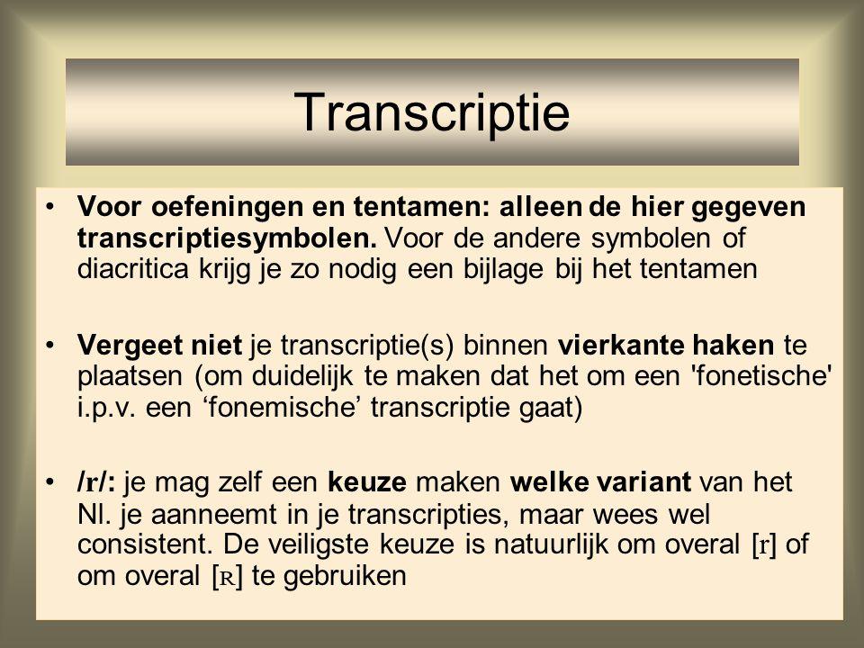 Voor oefeningen en tentamen: alleen de hier gegeven transcriptiesymbolen. Voor de andere symbolen of diacritica krijg je zo nodig een bijlage bij het