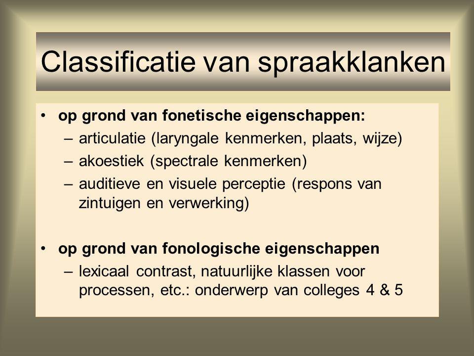 op grond van fonetische eigenschappen: –articulatie (laryngale kenmerken, plaats, wijze) –akoestiek (spectrale kenmerken) –auditieve en visuele percep