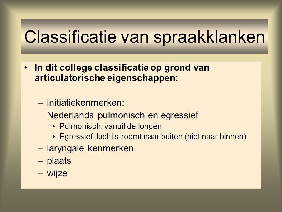 In dit college classificatie op grond van articulatorische eigenschappen: –initiatiekenmerken: Nederlands pulmonisch en egressief Pulmonisch: vanuit d