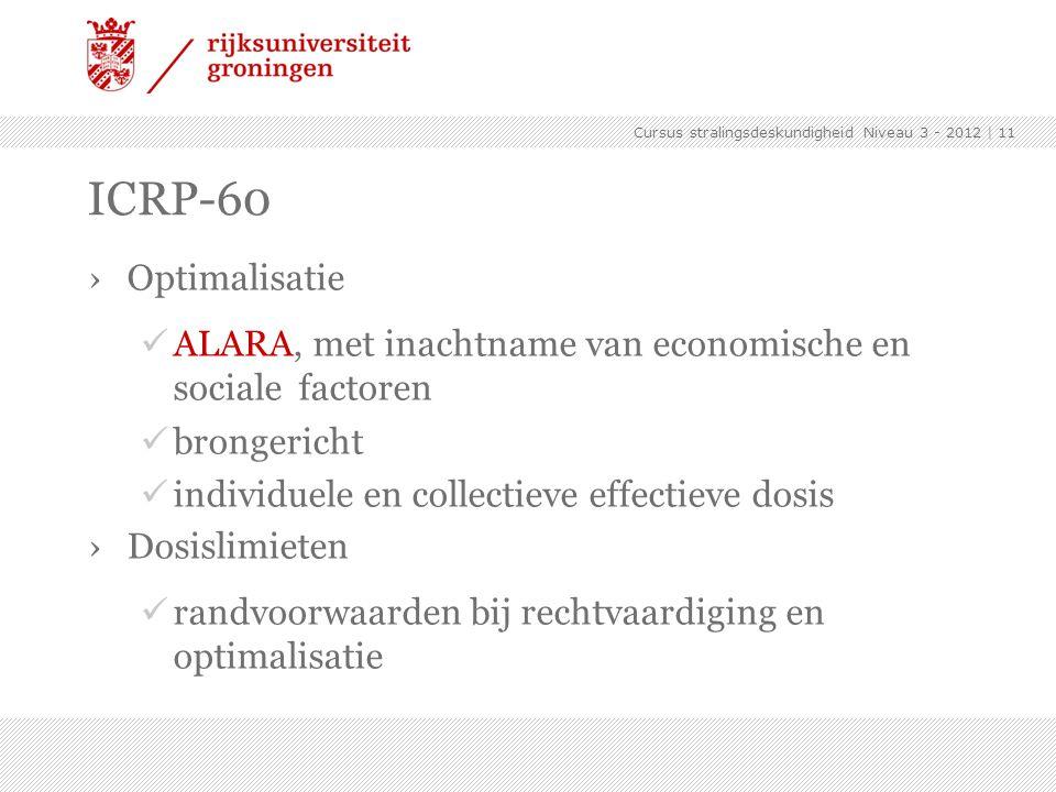 Cursus stralingsdeskundigheid Niveau 3 - 2012 | 11 ICRP-60 ›Optimalisatie ALARA, met inachtname van economische en sociale factoren brongericht indivi