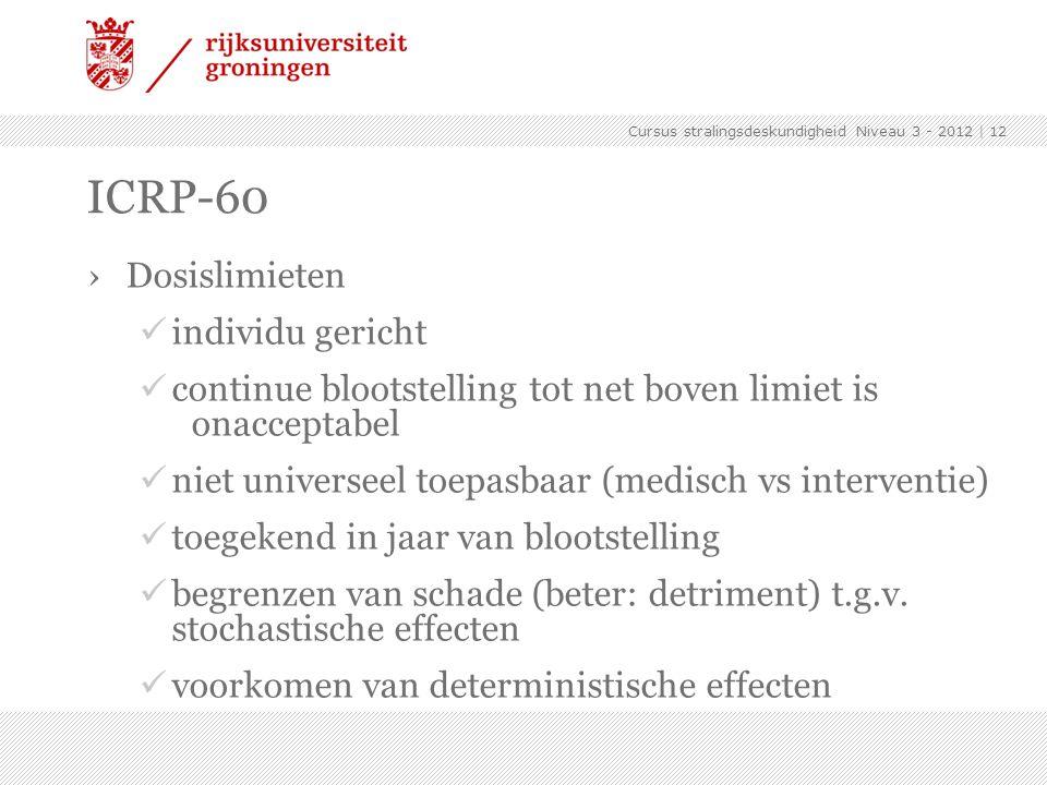 ICRP-60 ›Dosislimieten individu gericht continue blootstelling tot net boven limiet is onacceptabel niet universeel toepasbaar (medisch vs interventie