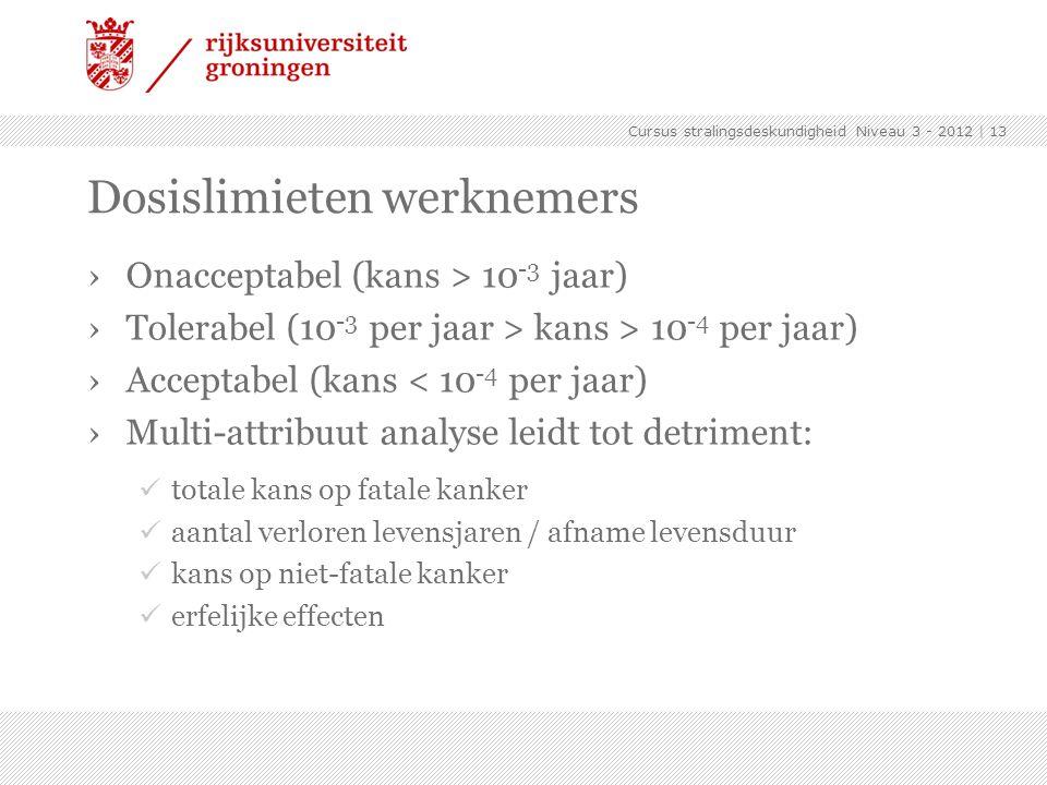 Cursus stralingsdeskundigheid Niveau 3 - 2012 | 13 Dosislimieten werknemers ›Onacceptabel (kans > 10 -3 jaar) ›Tolerabel (10 -3 per jaar > kans > 10 -