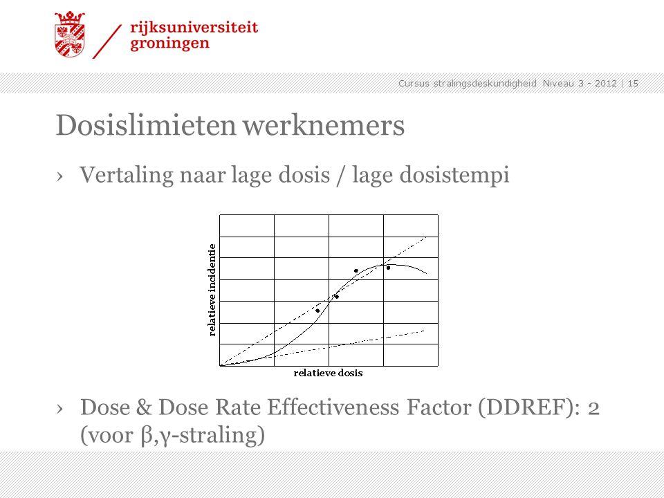 Cursus stralingsdeskundigheid Niveau 3 - 2012 | 15 Dosislimieten werknemers ›Vertaling naar lage dosis / lage dosistempi ›Dose & Dose Rate Effectivene