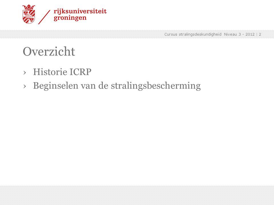 Cursus stralingsdeskundigheid Niveau 3 - 2012 | 2 Overzicht ›Historie ICRP ›Beginselen van de stralingsbescherming
