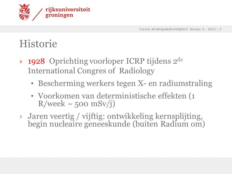 Cursus stralingsdeskundigheid Niveau 3 - 2012 | 4 Historie ›1950 Definitieve naam ICRP Bescherming werkers en algemene publiek (0.3 rem/week) ›1959 Algemene aanbevelingen ICRP-1 Voorkomen van stochastische (genetische) effecten (50 mSv/jaar)