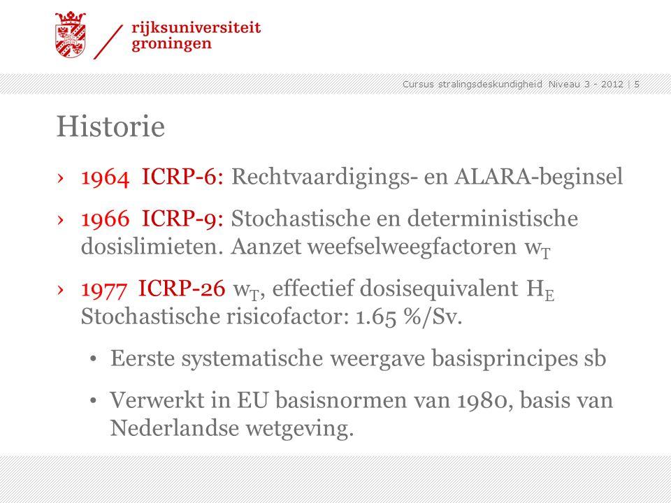 Cursus stralingsdeskundigheid Niveau 3 - 2012 | 6 Historie ›1990 ICRP-60 Nieuwe definities en grotere risicofactoren (5 %/Sv), lagere dosislimieten.