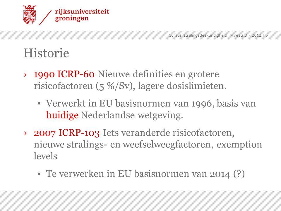Cursus stralingsdeskundigheid Niveau 3 - 2012 | 6 Historie ›1990 ICRP-60 Nieuwe definities en grotere risicofactoren (5 %/Sv), lagere dosislimieten. V