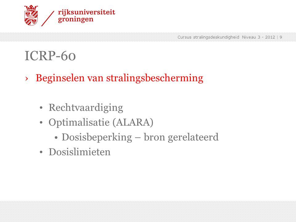 Cursus stralingsdeskundigheid Niveau 3 - 2012 | 9 ICRP-60 ›Beginselen van stralingsbescherming Rechtvaardiging Optimalisatie (ALARA) Dosisbeperking –