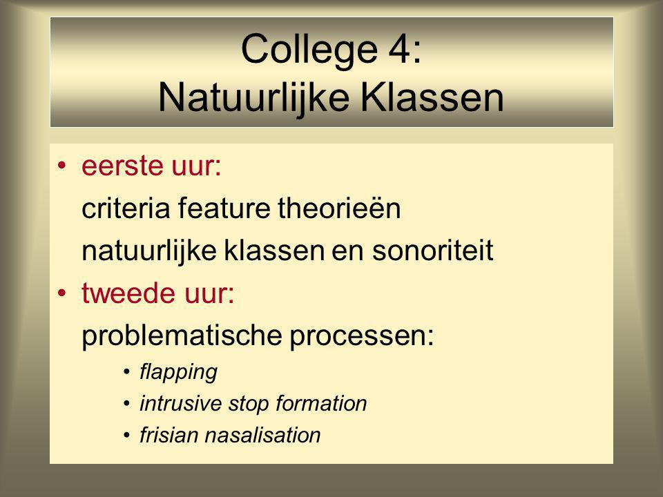 College 4: Natuurlijke Klassen eerste uur: criteria feature theorieën natuurlijke klassen en sonoriteit tweede uur: problematische processen: flapping intrusive stop formation frisian nasalisation