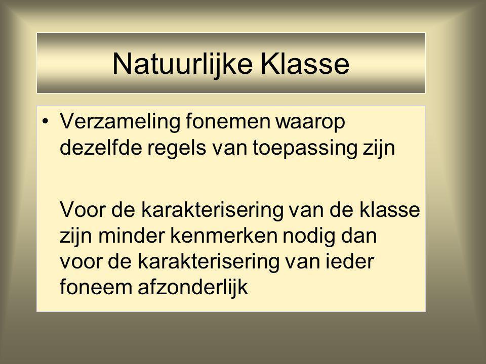 Natuurlijke Klasse Verzameling fonemen waarop dezelfde regels van toepassing zijn Voor de karakterisering van de klasse zijn minder kenmerken nodig dan voor de karakterisering van ieder foneem afzonderlijk