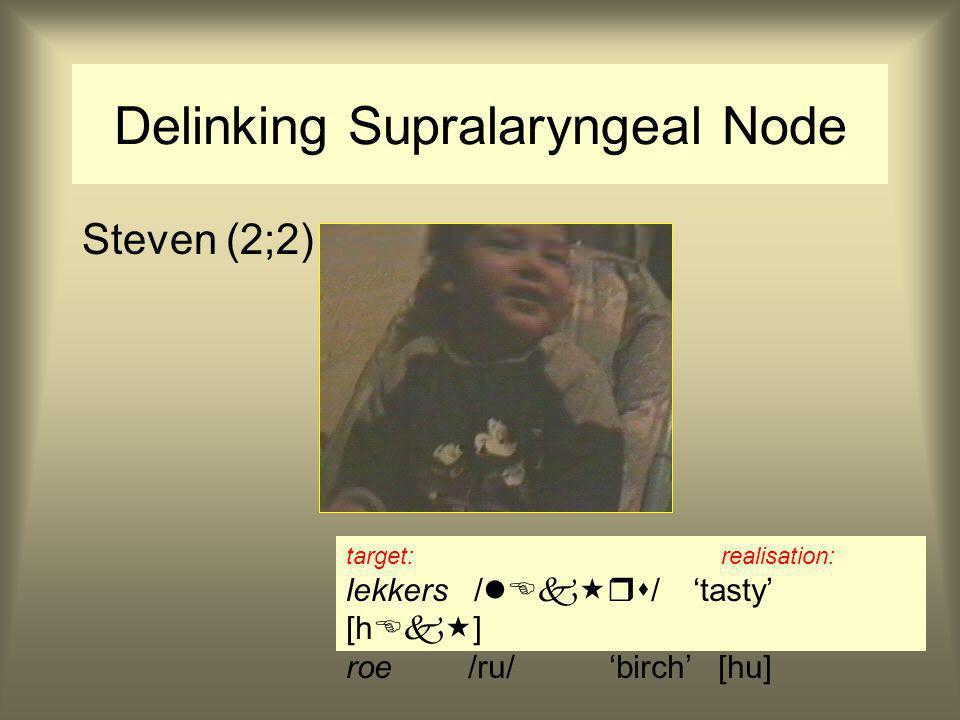 Delinking Supralaryngeal Node Steven (2;2) target: realisation: lekkers /  / 'tasty' [h  ] roe /ru/ 'birch' [hu]