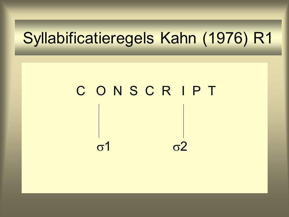 Syllabificatieregels Kahn (1976) R1 C O N S C R I P T  1  2