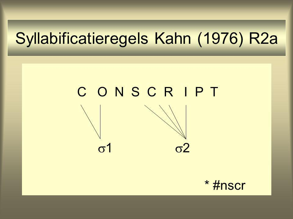 Syllabificatieregels Kahn (1976) R2a C O N S C R I P T  1  2 * #nscr