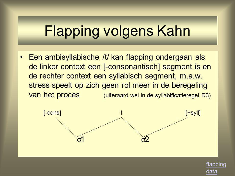 Flapping volgens Kahn Een ambisyllabische /t/ kan flapping ondergaan als de linker context een [-consonantisch] segment is en de rechter context een syllabisch segment, m.a.w.