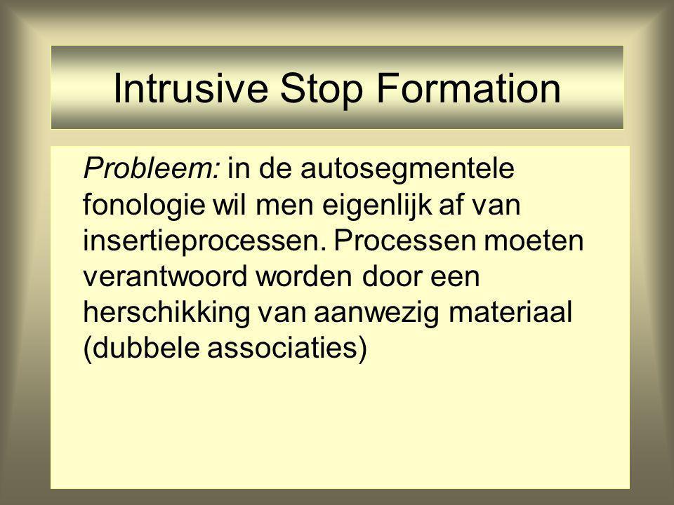 Intrusive Stop Formation Probleem: in de autosegmentele fonologie wil men eigenlijk af van insertieprocessen. Processen moeten verantwoord worden door