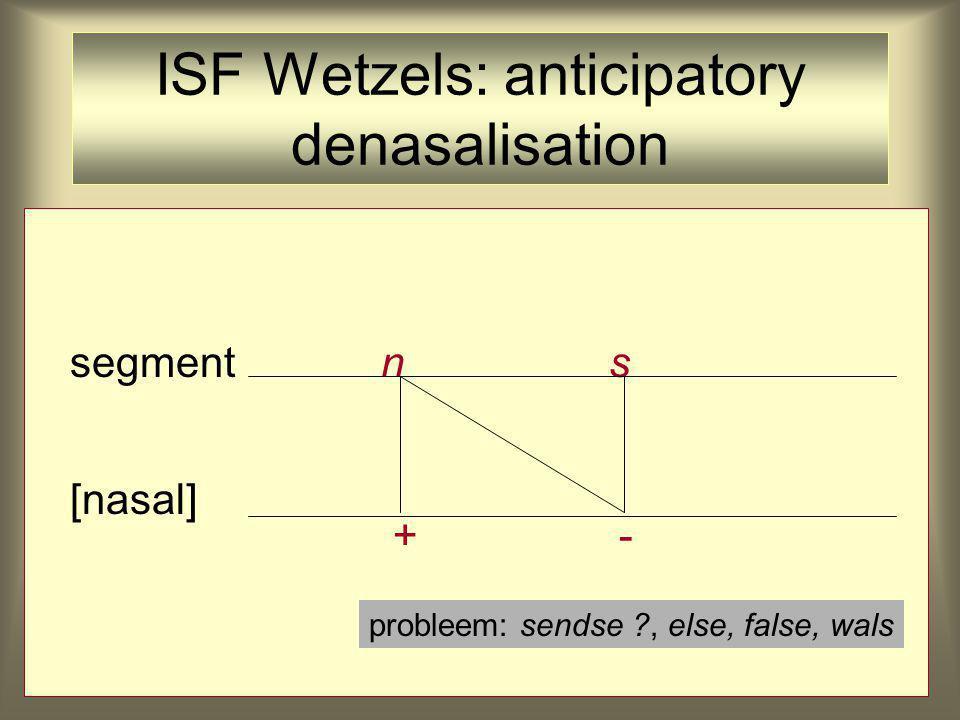 ISF Wetzels: anticipatory denasalisation segment n s [nasal] + - probleem: sendse ?, else, false, wals