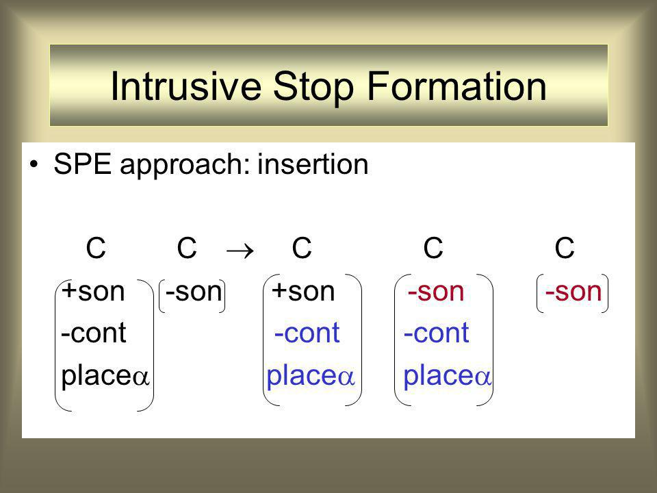 SPE approach: insertion C C  CCC +son -son +son -son -son -cont -cont -cont place  place  place  Intrusive Stop Formation