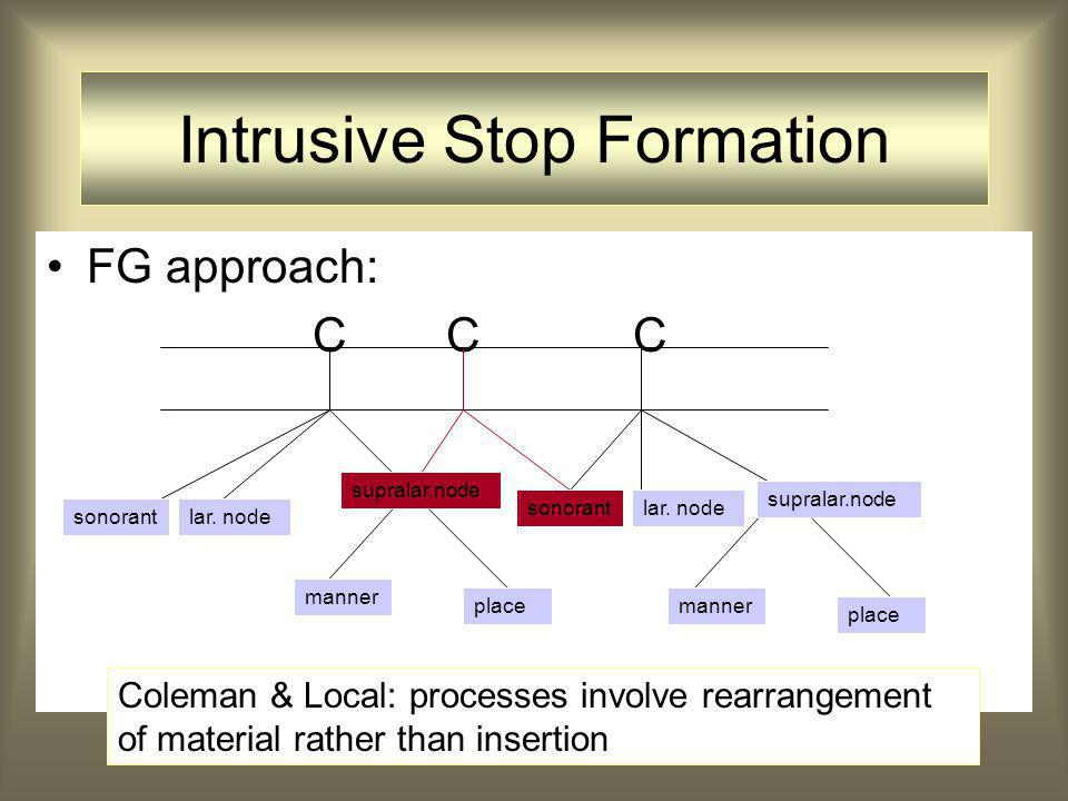 FG approach: C C C Intrusive Stop Formation supralar.node sonorant Coleman & Local: processes involve rearrangement of material rather than insertion lar.