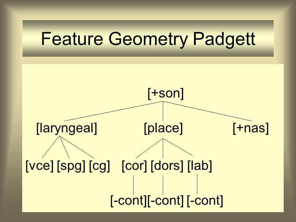 Feature Geometry Padgett [+son] [laryngeal][place][+nas] [vce] [spg] [cg] [cor] [dors] [lab] [-cont][-cont] [-cont]