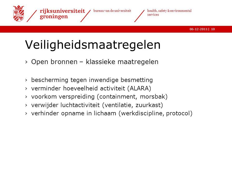 | bureau van de universiteit health, safety & environmental services 06-12-201110 Veiligheidsmaatregelen ›Open bronnen – klassieke maatregelen ›besche