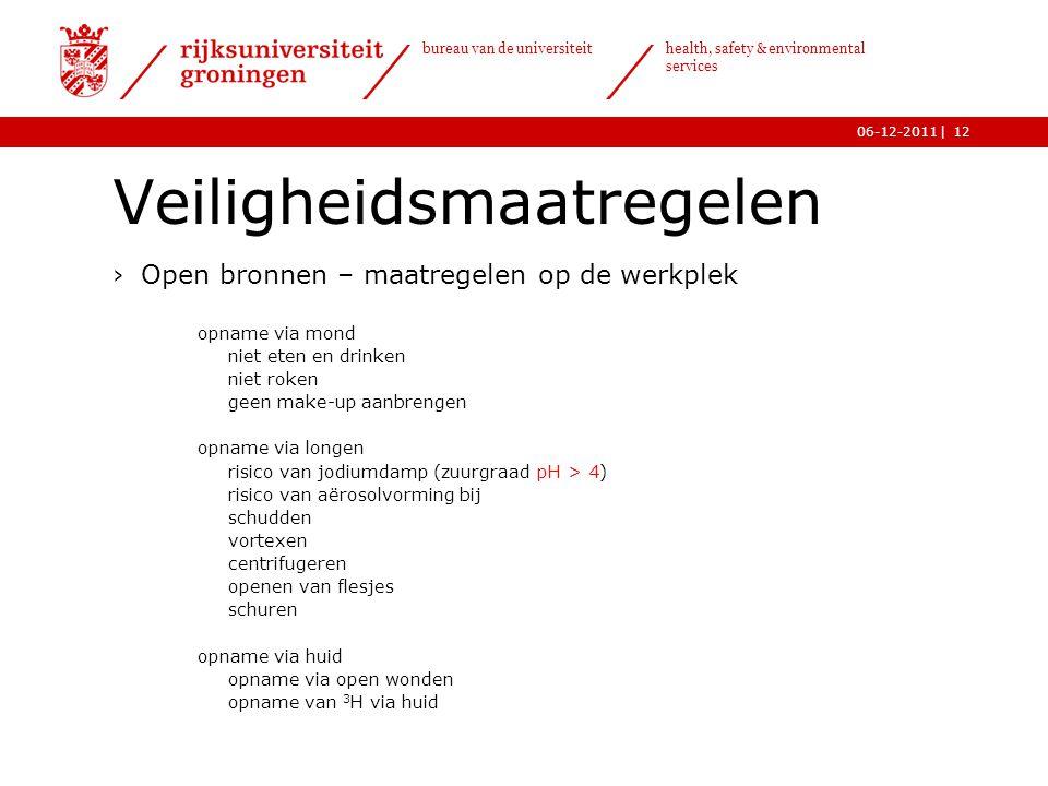 | bureau van de universiteit health, safety & environmental services 06-12-201112 Veiligheidsmaatregelen ›Open bronnen – maatregelen op de werkplek o