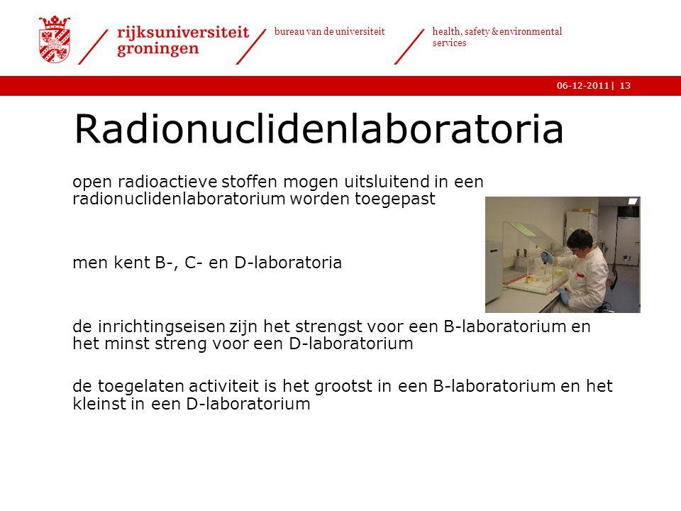| bureau van de universiteit health, safety & environmental services 06-12-201113 Radionuclidenlaboratoria o open radioactieve stoffen mogen uitsluite