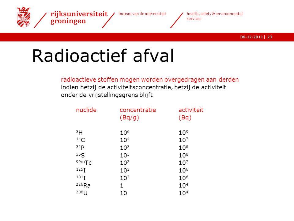 | bureau van de universiteit health, safety & environmental services 06-12-201123 Radioactief afval radioactieve stoffen mogen worden overgedragen aan