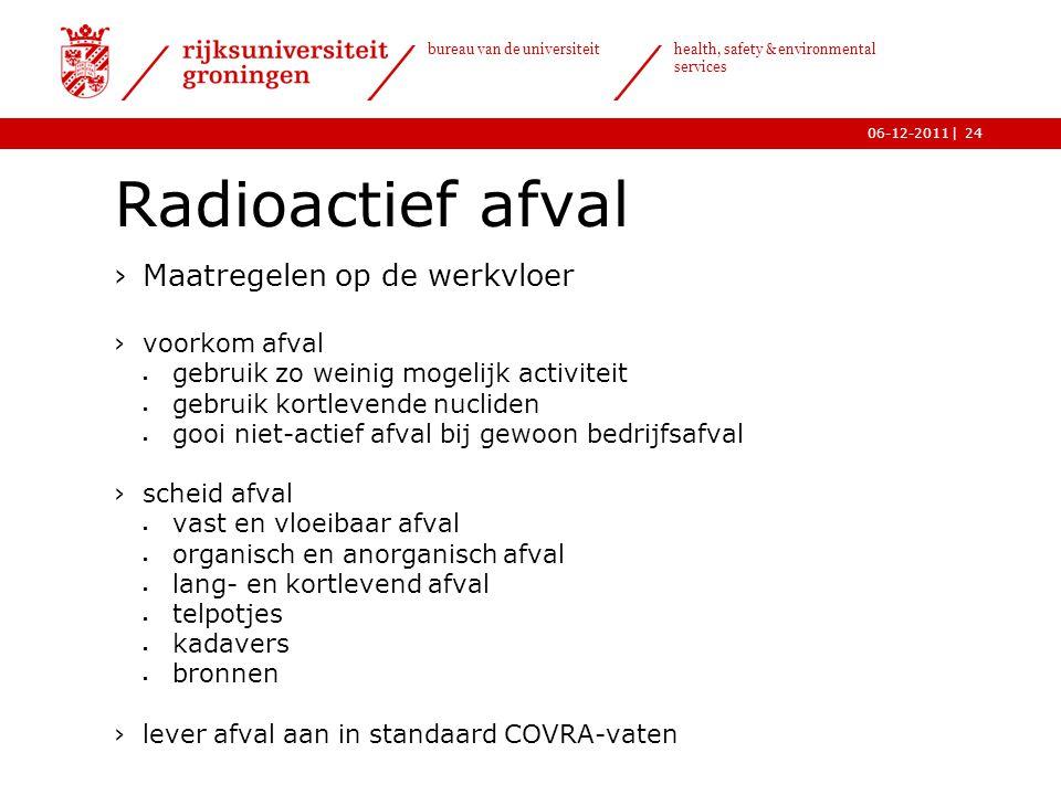 | bureau van de universiteit health, safety & environmental services 06-12-201124 Radioactief afval ›Maatregelen op de werkvloer ›voorkom afval  gebr
