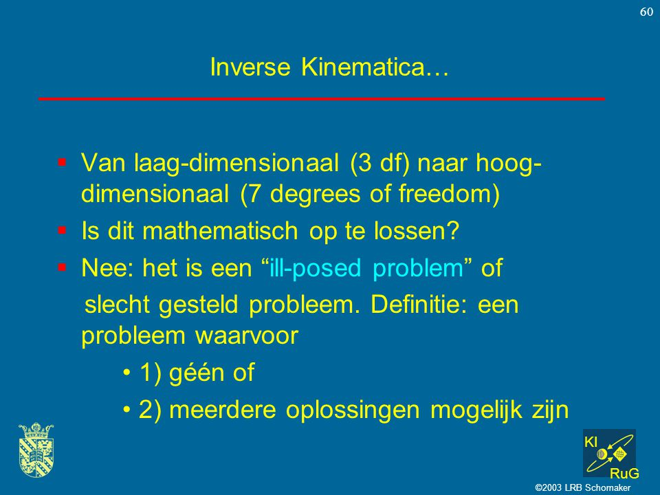 KI RuG ©2003 LRB Schomaker 60 Inverse Kinematica…  Van laag-dimensionaal (3 df) naar hoog- dimensionaal (7 degrees of freedom)  Is dit mathematisch