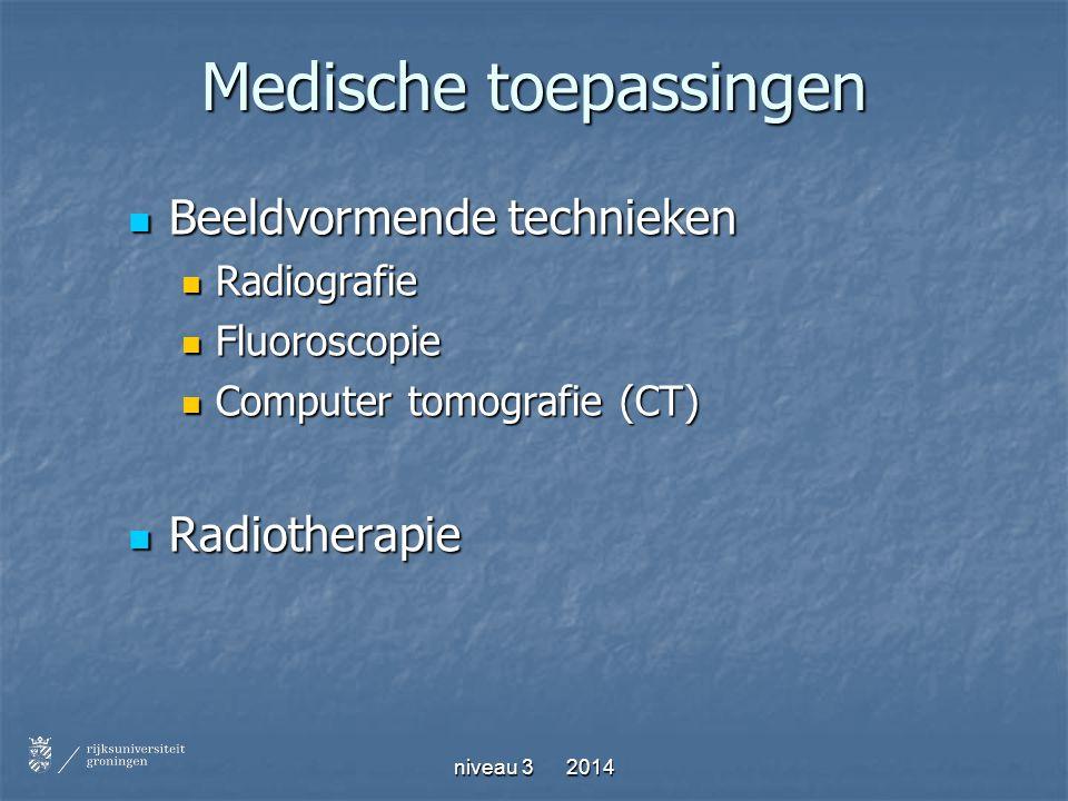 Medische toepassingen Beeldvormende technieken Beeldvormende technieken Radiografie Radiografie Fluoroscopie Fluoroscopie Computer tomografie (CT) Com