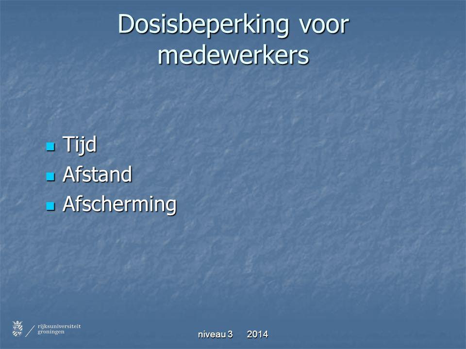 niveau 3 2014 Dosisbeperking voor medewerkers Tijd Tijd Afstand Afstand Afscherming Afscherming