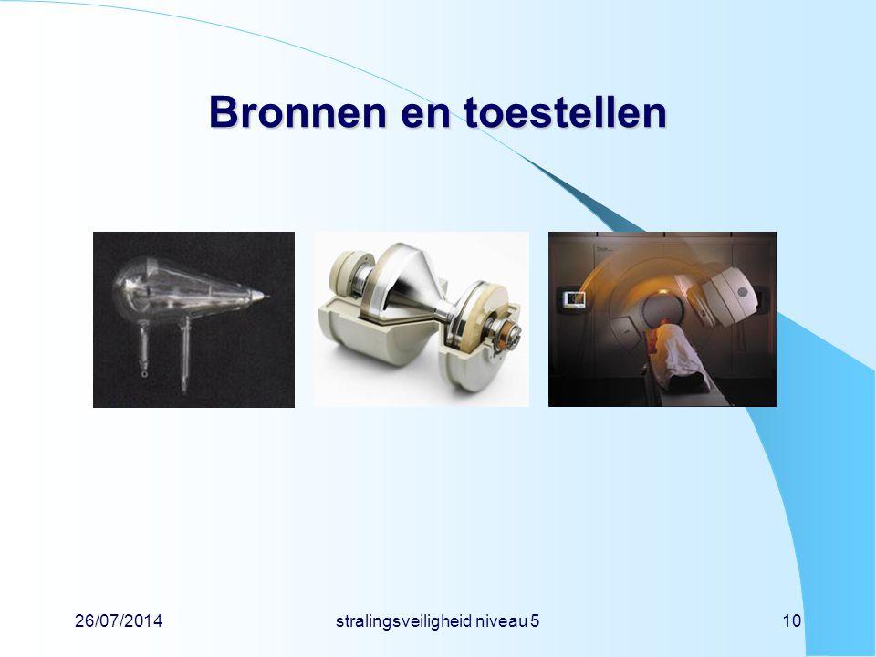 26/07/2014stralingsveiligheid niveau 510 Bronnen en toestellen