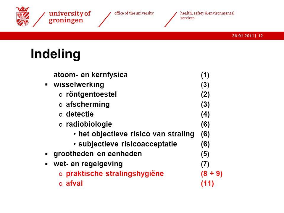 | office of the university health, safety & environmental services 26-01-201112 Indeling  atoom- en kernfysica (1)  wisselwerking (3) o röntgentoest