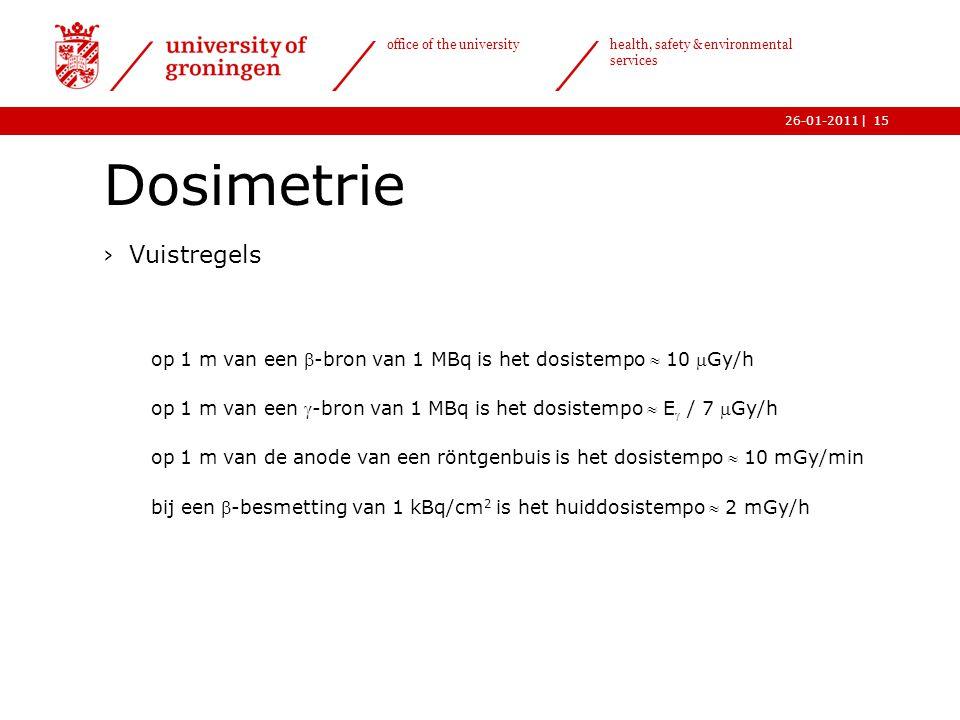 | office of the university health, safety & environmental services 26-01-201115 Dosimetrie ›Vuistregels op 1 m van een -bron van 1 MBq is het dosiste