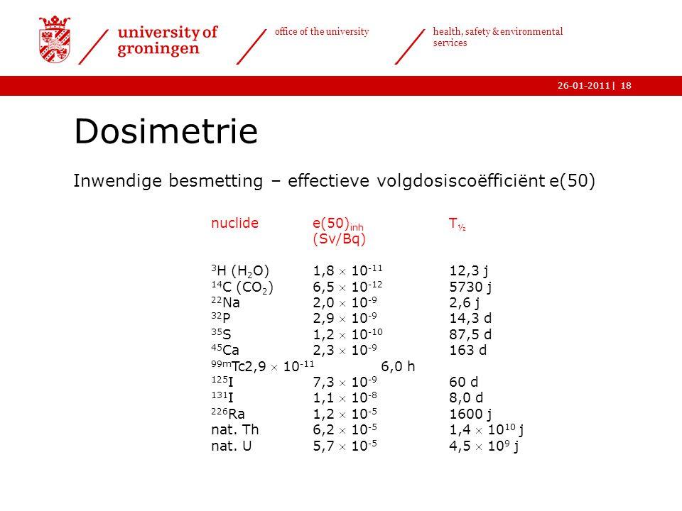 | office of the university health, safety & environmental services 26-01-201118 Dosimetrie Inwendige besmetting – effectieve volgdosiscoëfficiënt e(50