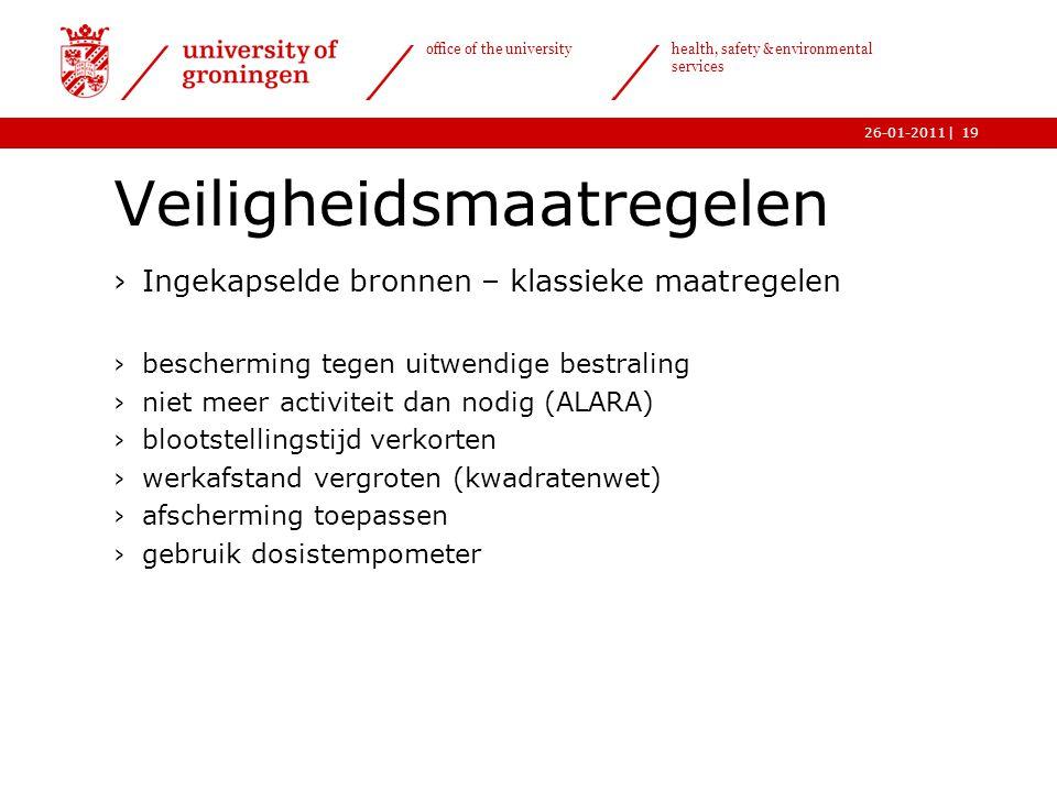 | office of the university health, safety & environmental services 26-01-201119 Veiligheidsmaatregelen ›Ingekapselde bronnen – klassieke maatregelen ›