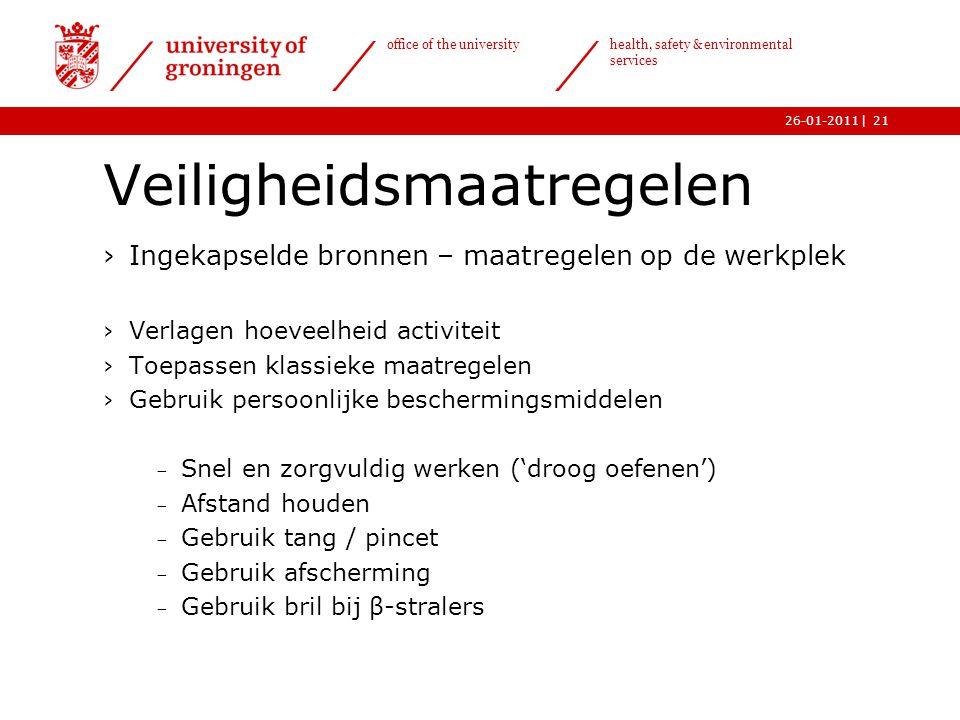 | office of the university health, safety & environmental services 26-01-201121 Veiligheidsmaatregelen ›Ingekapselde bronnen – maatregelen op de werkp