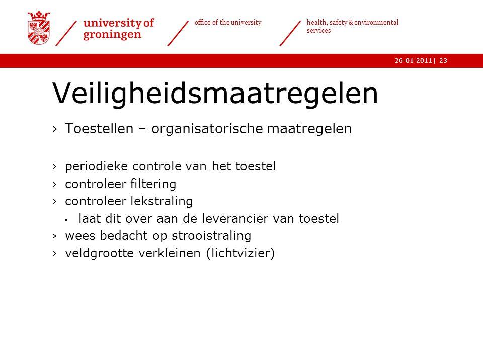 | office of the university health, safety & environmental services 26-01-201123 Veiligheidsmaatregelen ›Toestellen – organisatorische maatregelen ›per