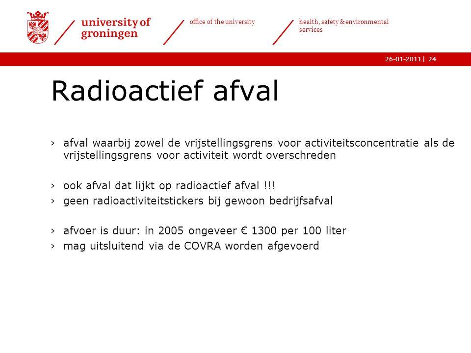 | office of the university health, safety & environmental services 26-01-201124 Radioactief afval ›afval waarbij zowel de vrijstellingsgrens voor acti