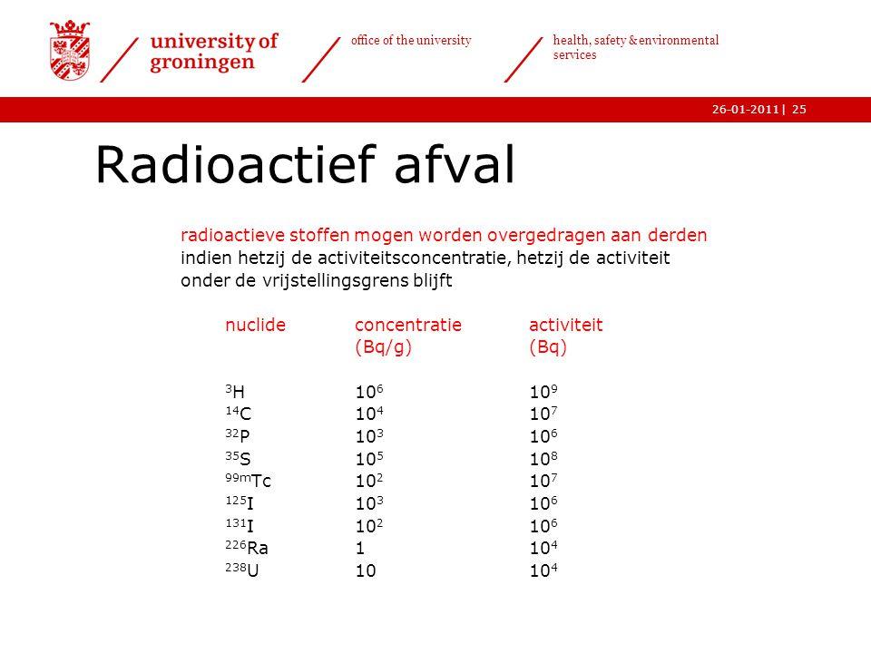 | office of the university health, safety & environmental services 26-01-201125 Radioactief afval radioactieve stoffen mogen worden overgedragen aan d