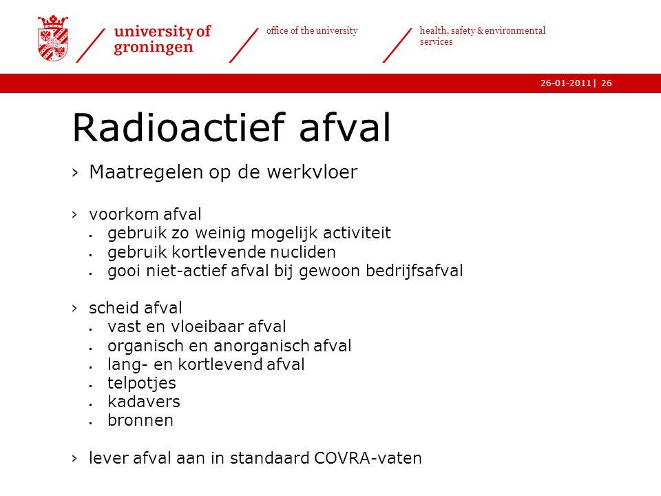 | office of the university health, safety & environmental services 26-01-201126 Radioactief afval ›Maatregelen op de werkvloer ›voorkom afval  gebrui
