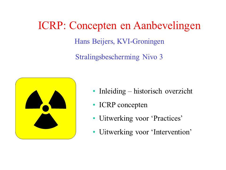 ICRP: Concepten en Aanbevelingen Hans Beijers, KVI-Groningen Stralingsbescherming Nivo 3 Inleiding – historisch overzicht ICRP concepten Uitwerking vo