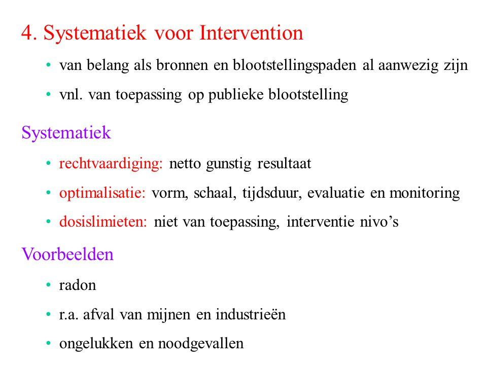 4. Systematiek voor Intervention van belang als bronnen en blootstellingspaden al aanwezig zijn vnl. van toepassing op publieke blootstelling Systemat